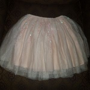 Zara girls beige tutu with iridescent sequins.